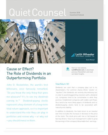 Cause or Effect? The Role of Dividends in an Outperforming Portfolio
