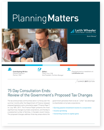 75 Day Consultation Ends: Review of the Government's Proposed Tax Changes""